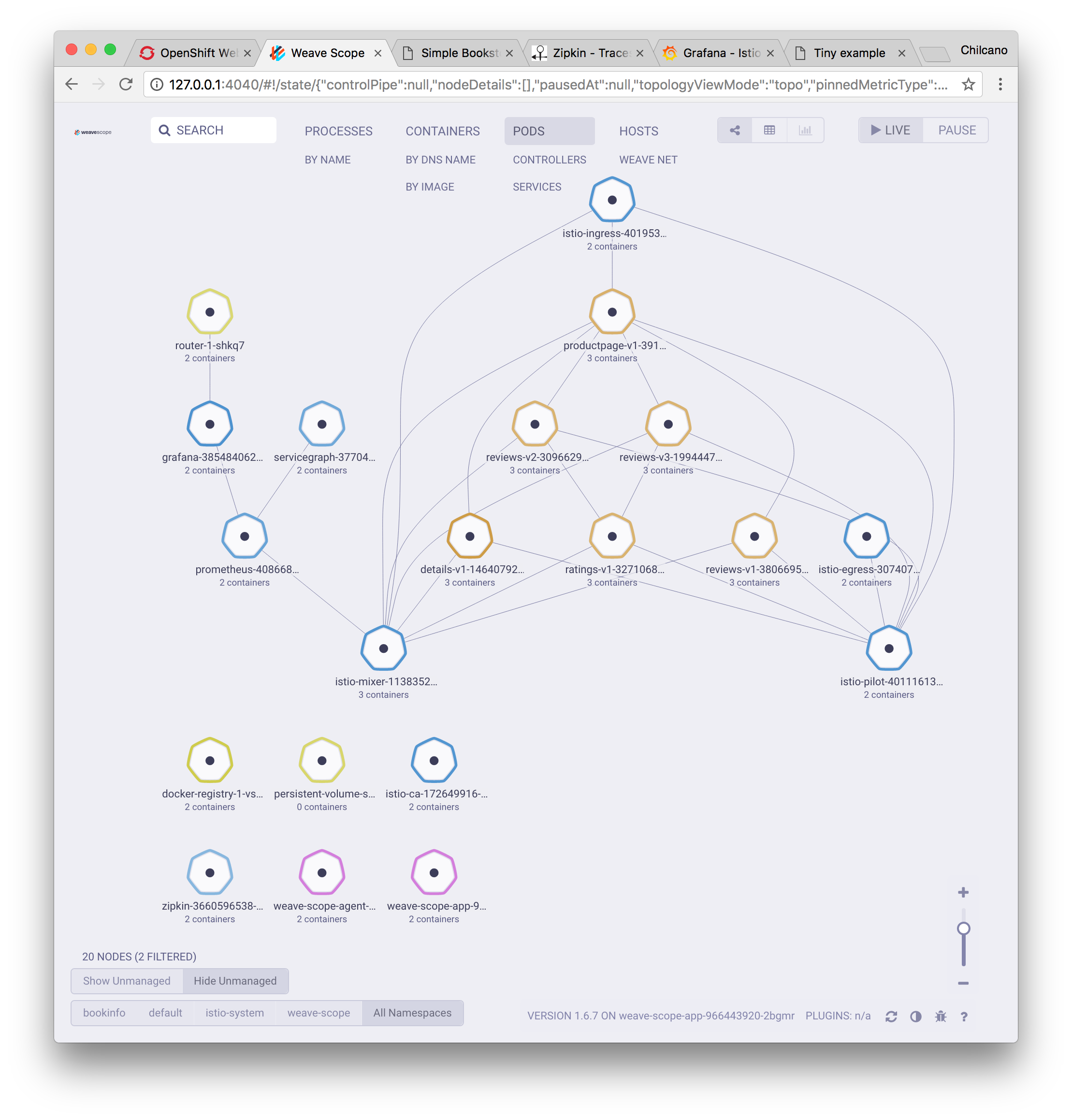 Exploring OpenShift with Weave Scope