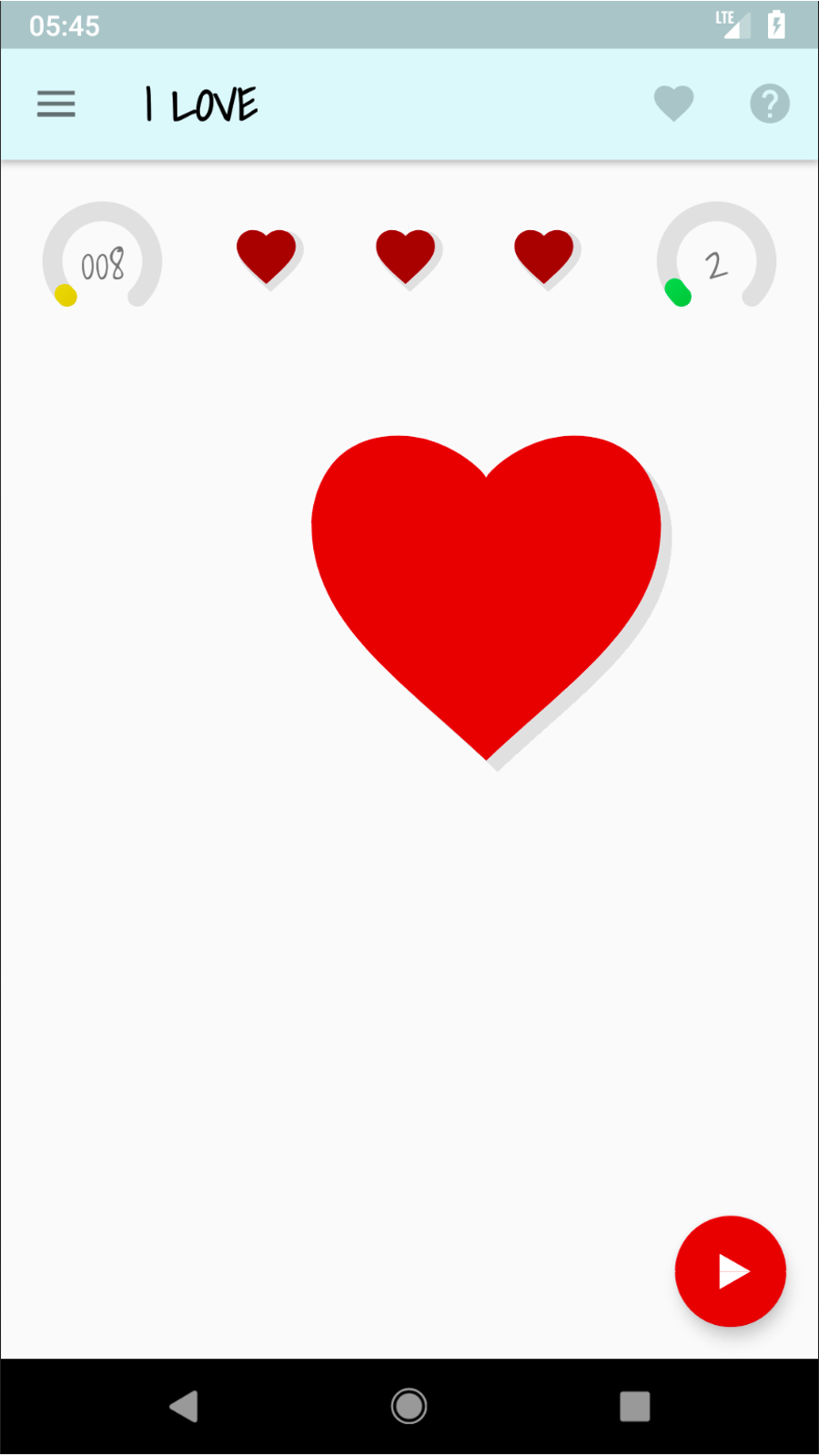 Main screen of I Love