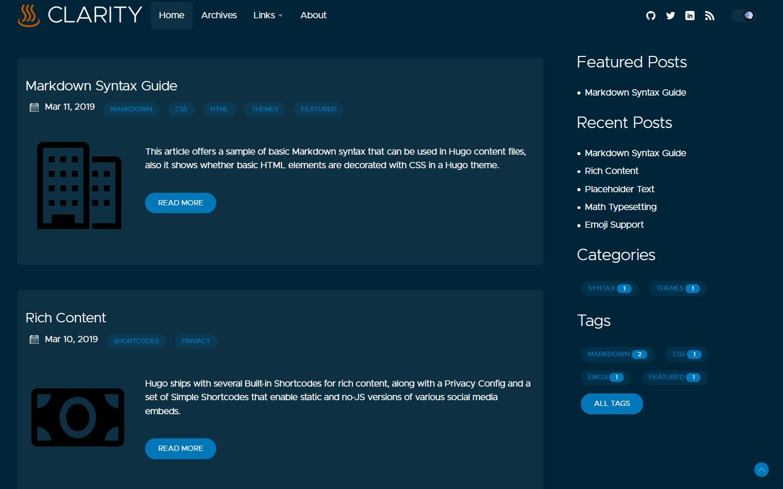 Clarity Hugo Theme desktop dark