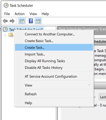 Create a Task in Task Scheduler