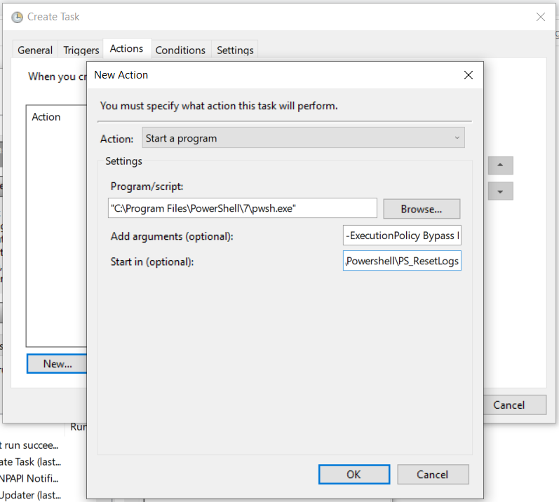 Task Scheduler Actions Settings