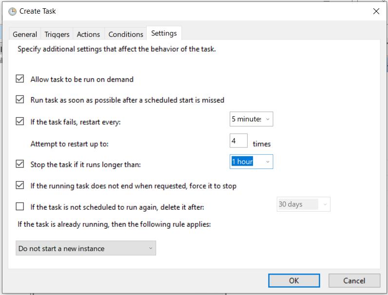 Task Scheduler Settings Settings