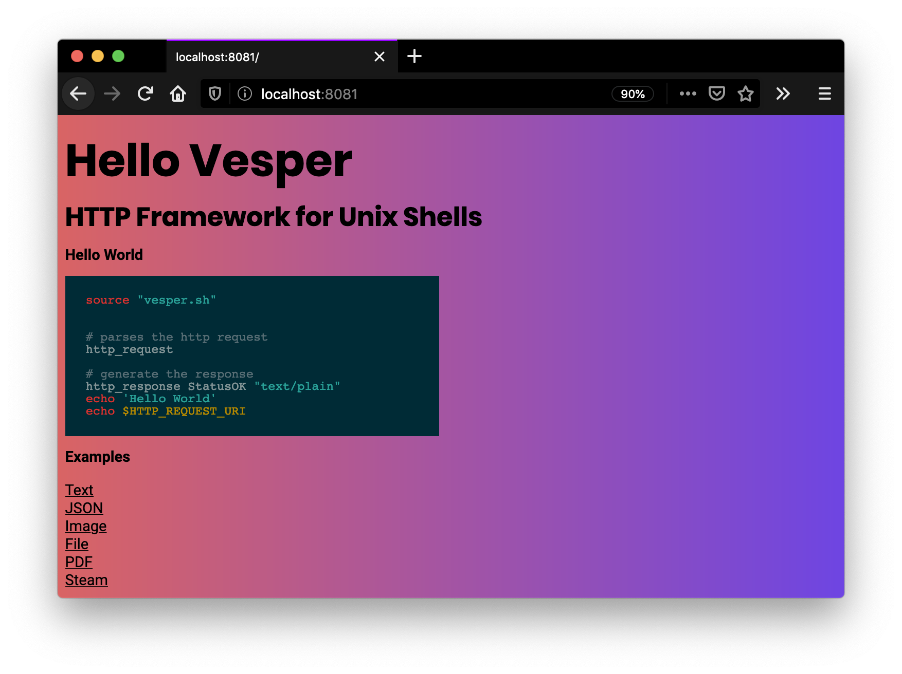 vesper browser output