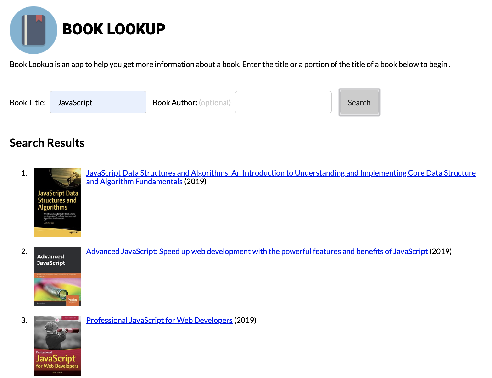 Book Search Results and Selection Screenshot