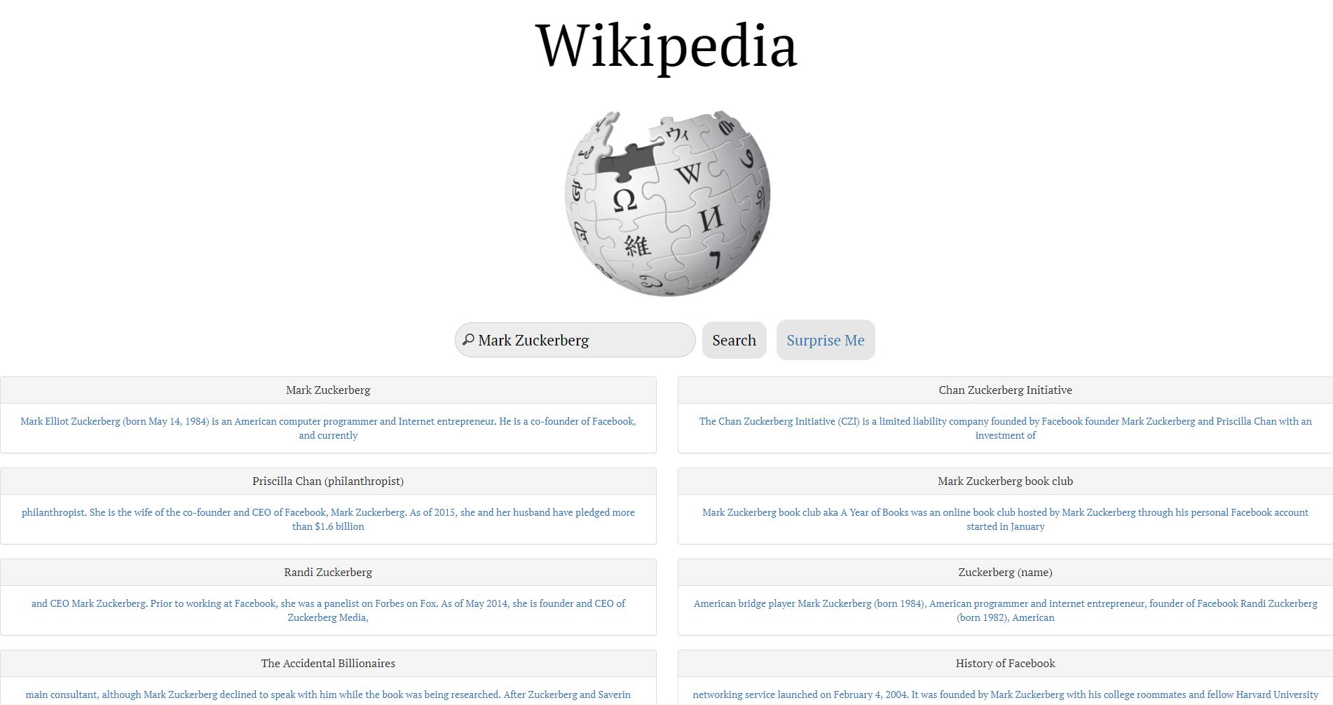 Wikipedia Searcher
