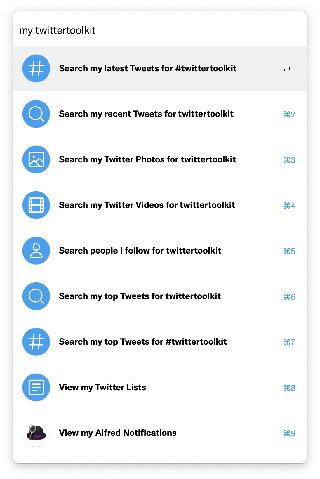 Twitter Toolkit's support for searching for my tweets