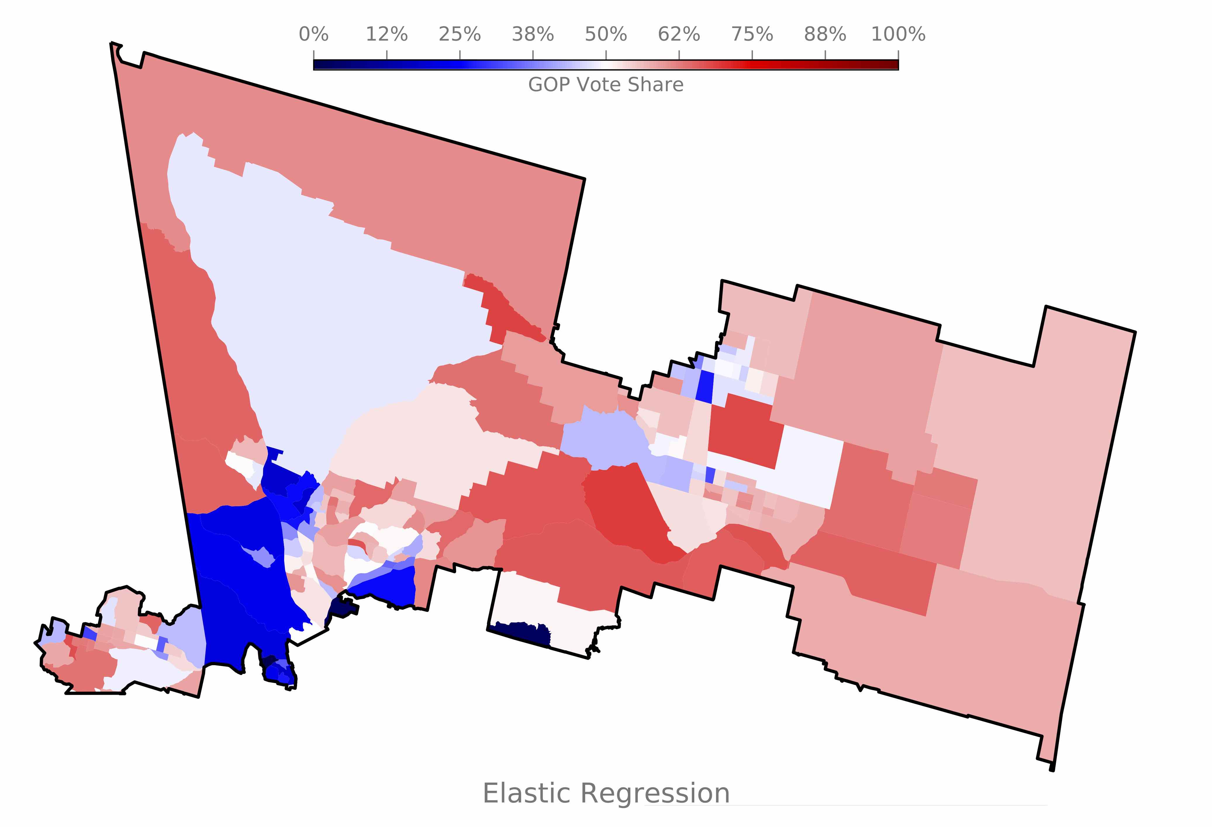 Figure 1: An elastic regression algorithm trained on the nationwide county-level voting results of the 2016 presidential election, used to predict the vote of California's 25th Congressional district. Click to download the image.