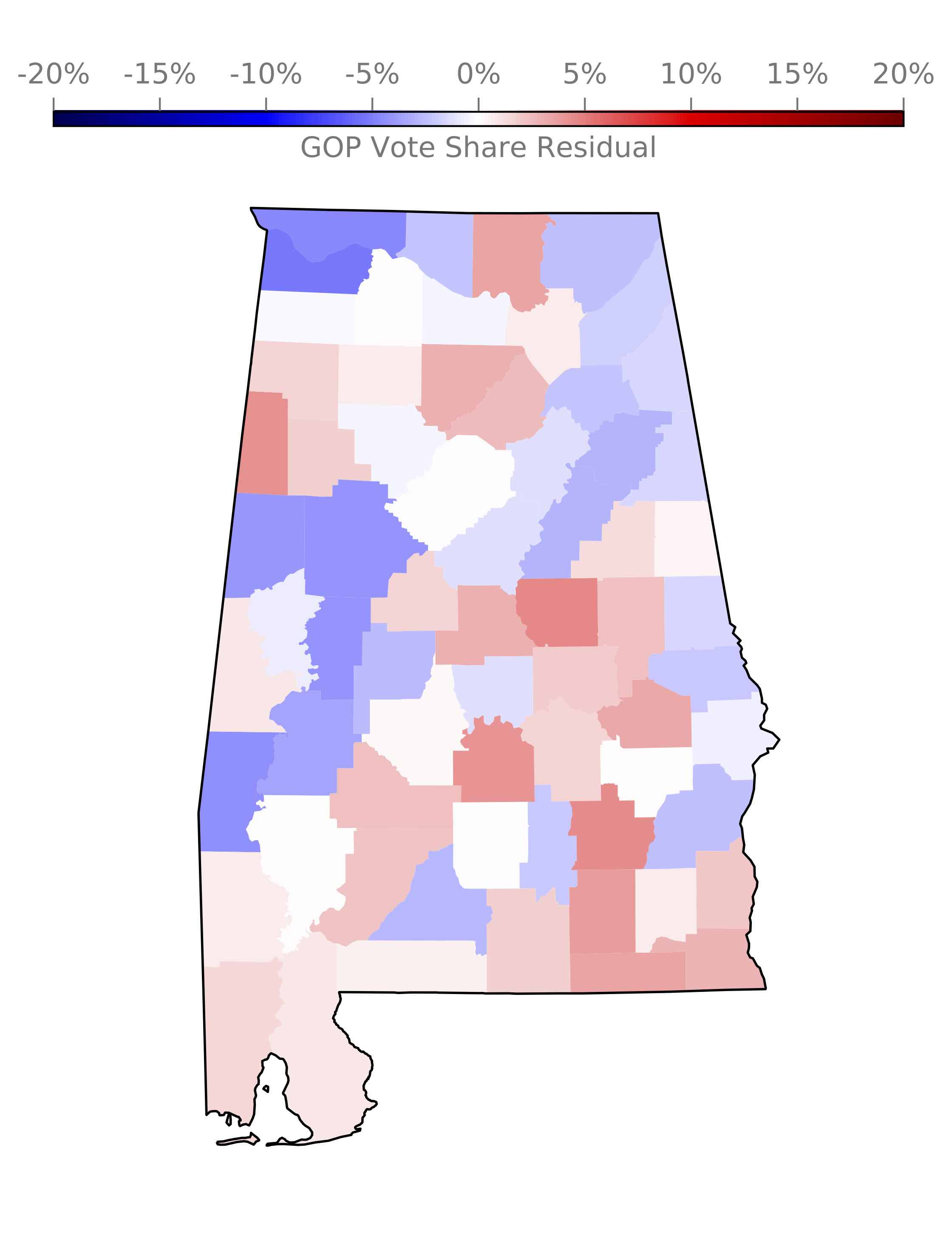 Figure 2: Residuals (data-model) from a neural network trained on the Alabama 2017 special election results. The results appear completely random as far as I can tell, which indicates that nothing suspicious was going on in Alabama. Click to download the image.