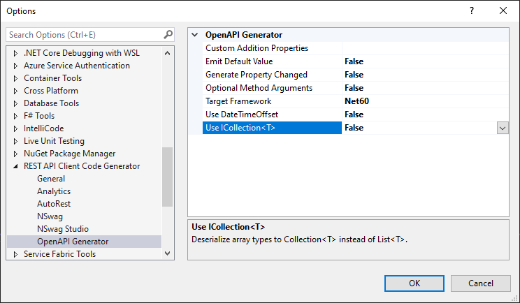 Options - OpenAPI Generator