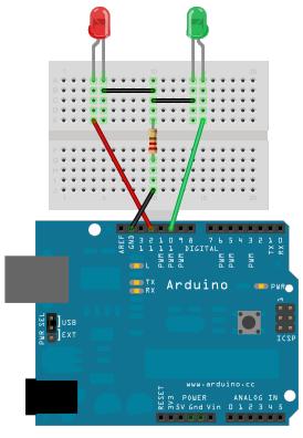 Arduing and breadboard wiring schema
