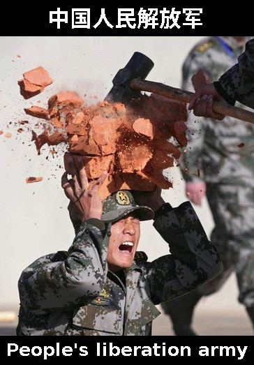 PLA soldier breaking bricks on head