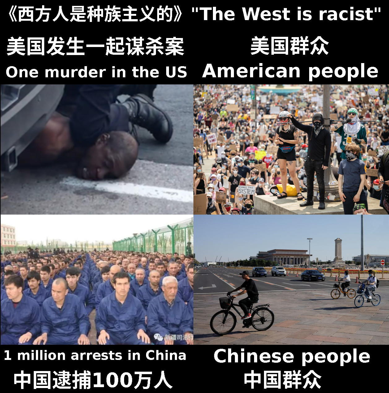 Racism in the West vs China George Floyd vs Xinjiang