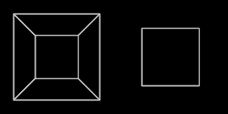 OpenGL glFrustrum on left vs glOrtho on right