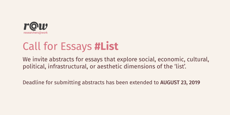 Call for essays on #List, please submit abstracts by August 23, 2019