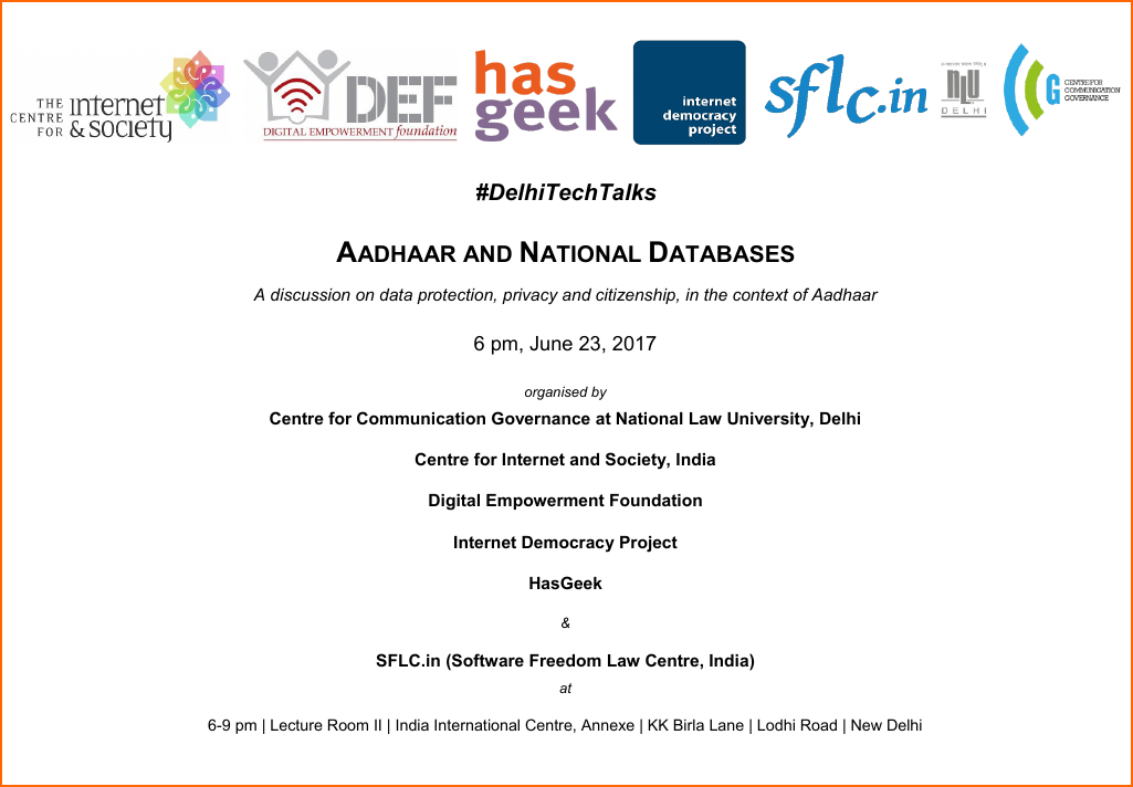 #DelhiTechTalks - Aadhaar and National Databases. Friday, June 23, IIC, 6 pm.