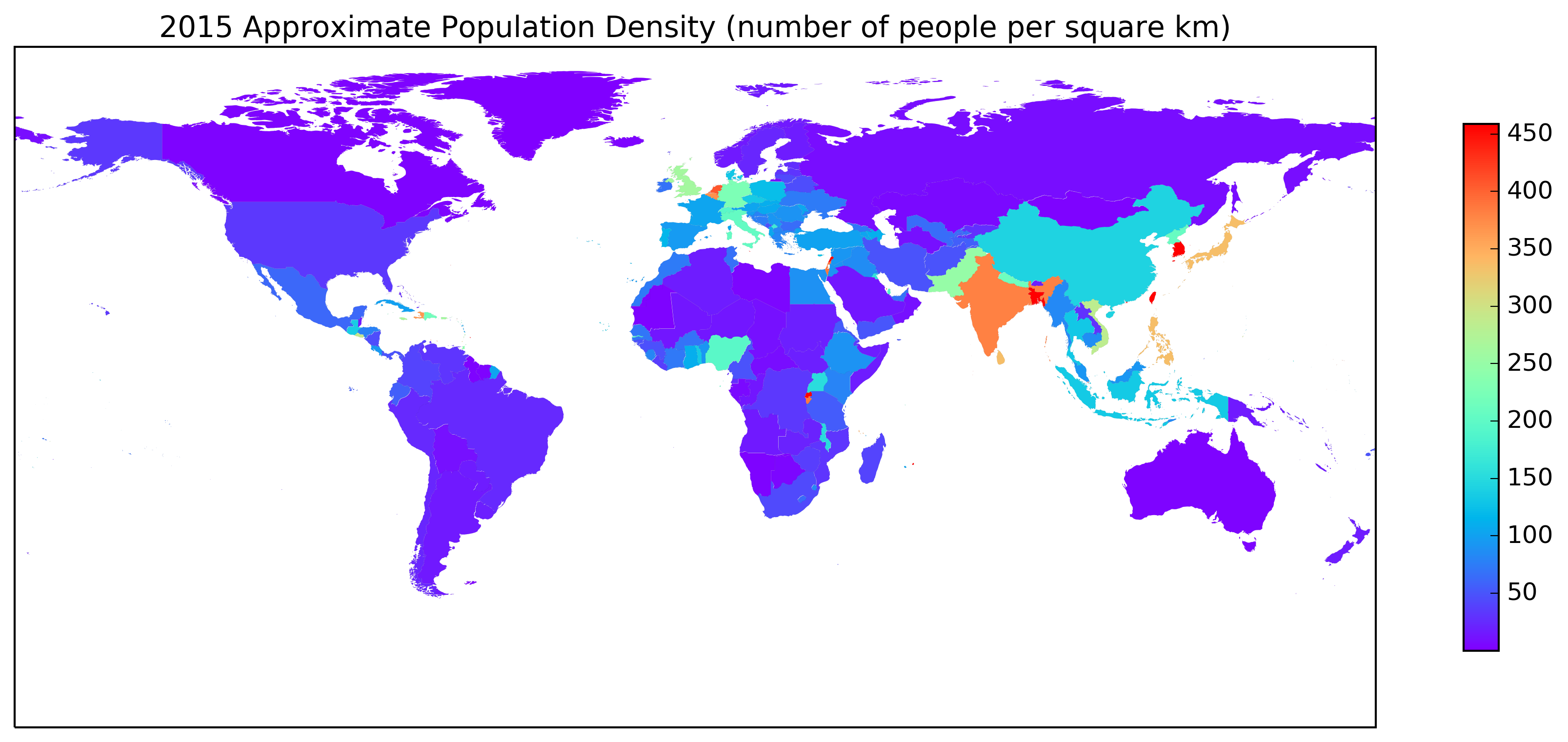 2015 Approximate Population Density Plot