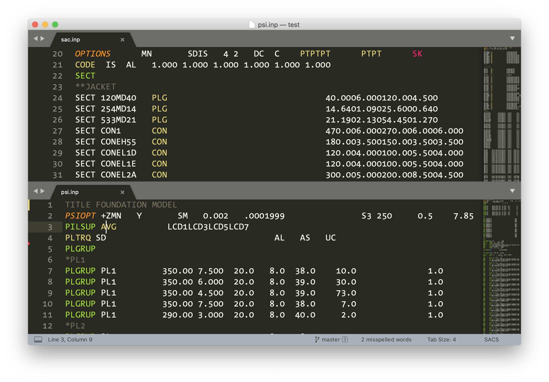 SACS input file syntax-highlighted in Sublime Text 3.