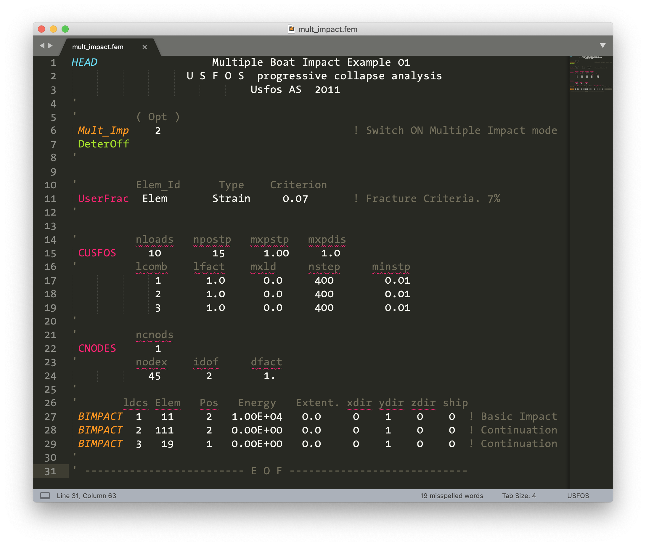 USFOS control file syntax highlighted in Sublime Text 3.