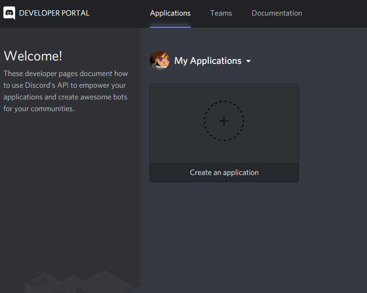 A view of the Applications tab of the Discord Developer Portal, with a button that says Create an application