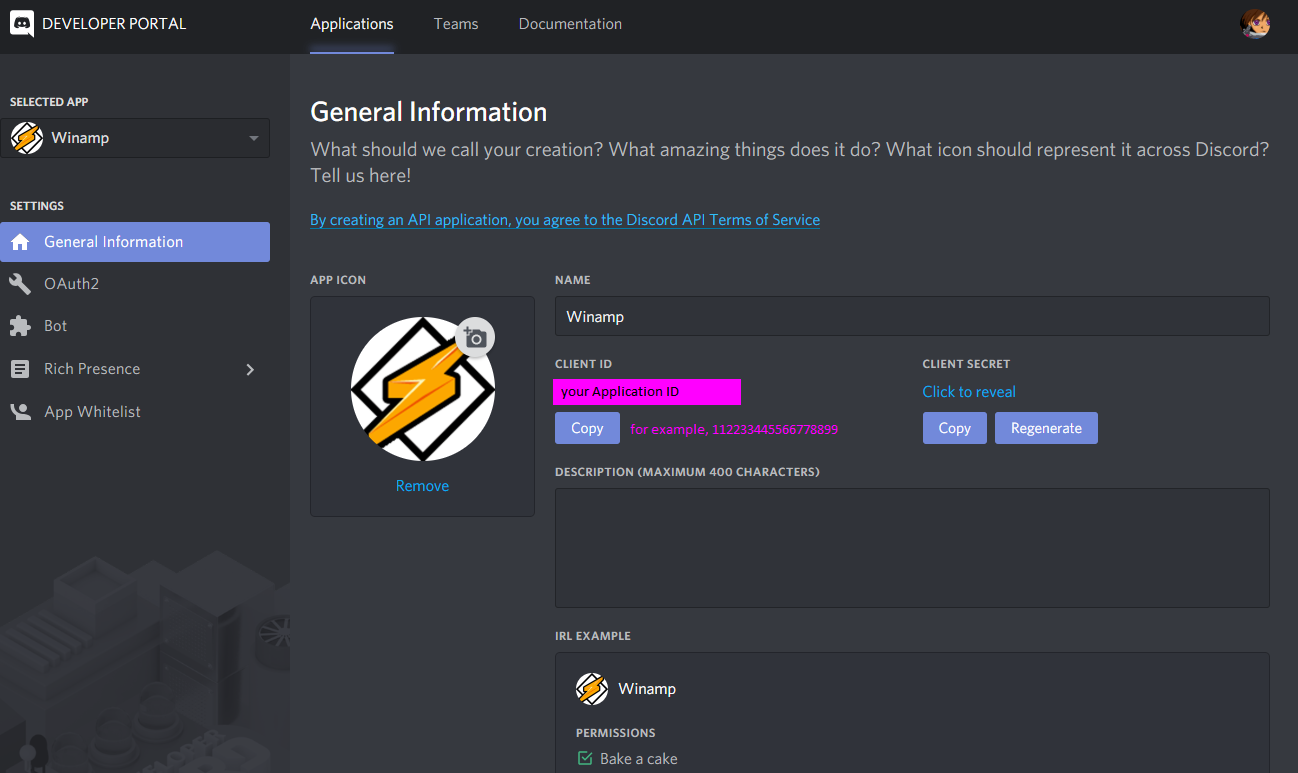 A view of the Applications tab of the Discord Developer Portal; viewing the General Information tab for the Winamp application. The screeenshot shows the Winamp Application's name as Winamp, and a CLIENT ID. An example ID of 112233445566778899 is shown.