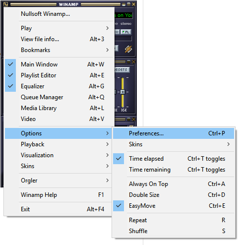 Winamp is shown running, where the user has clicked the menu button, moused-over the Options menu, and is about to click Preferences. Preferences can also be accessed with Ctrl+P.