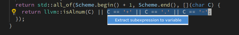Extract variable code action