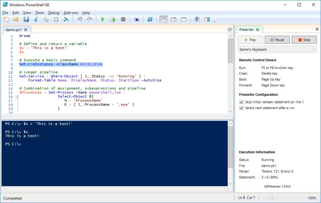 ISEPresenter screenshot in the ready state.