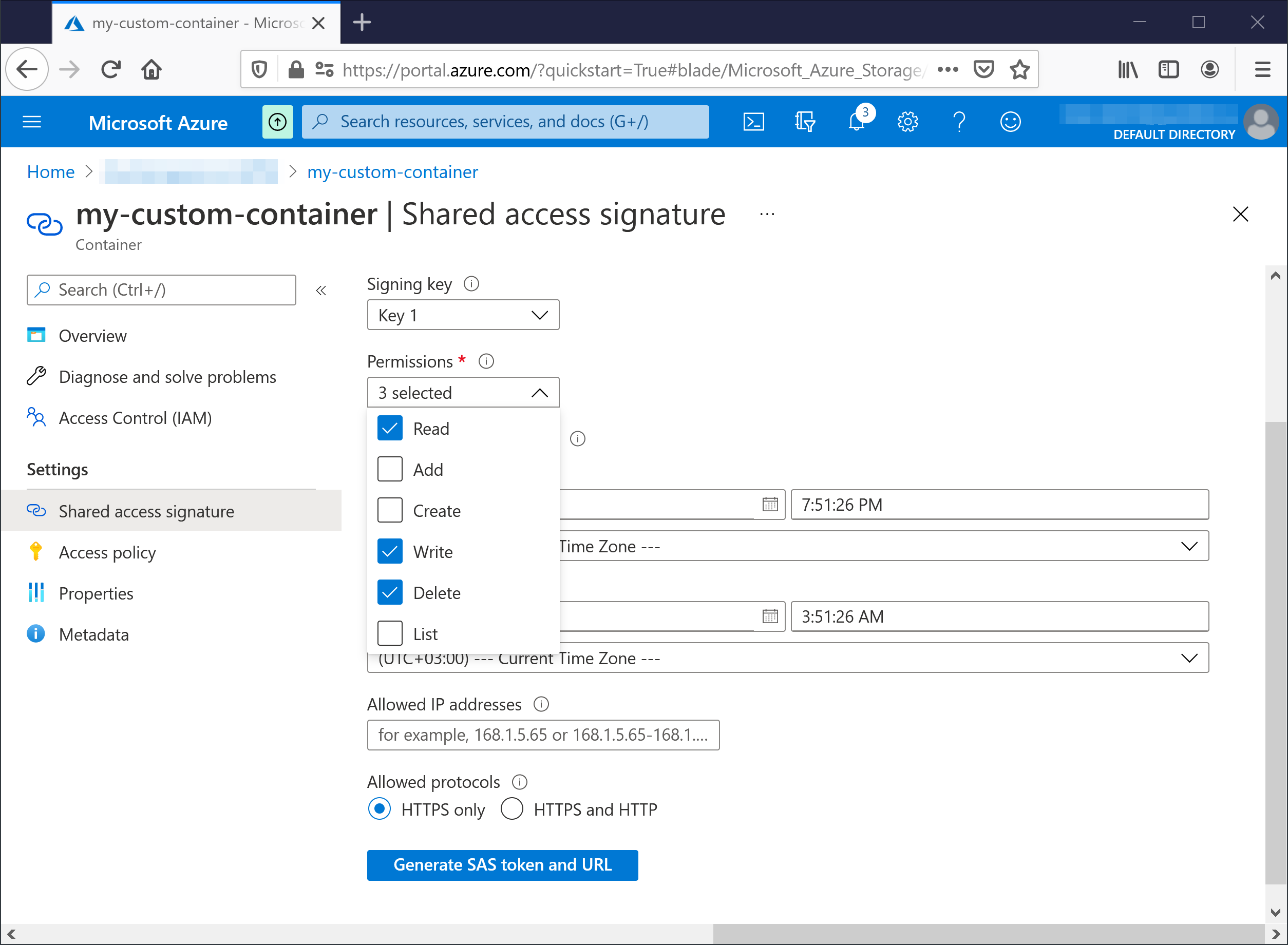 azure container page