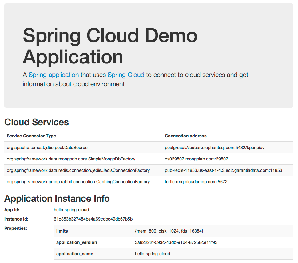 Application deployed on Cloud Foundry