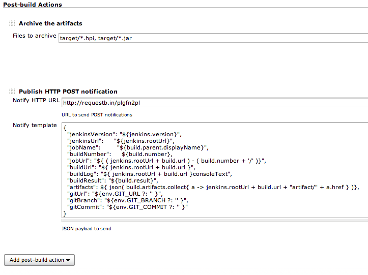 Post-build action with JSON payload submitted as POST request
