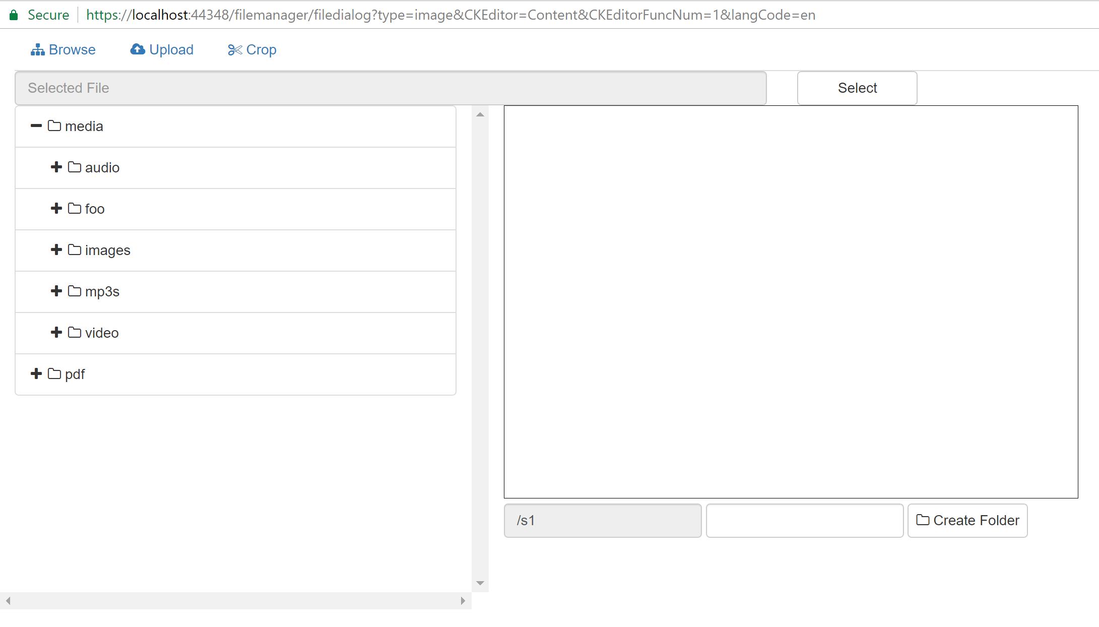 file browser Screen shot