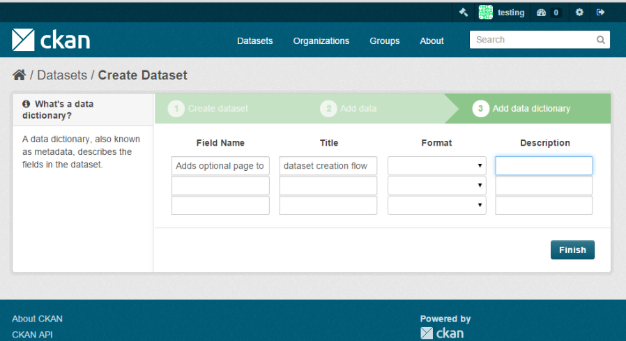 Additional stage added to dataset setup