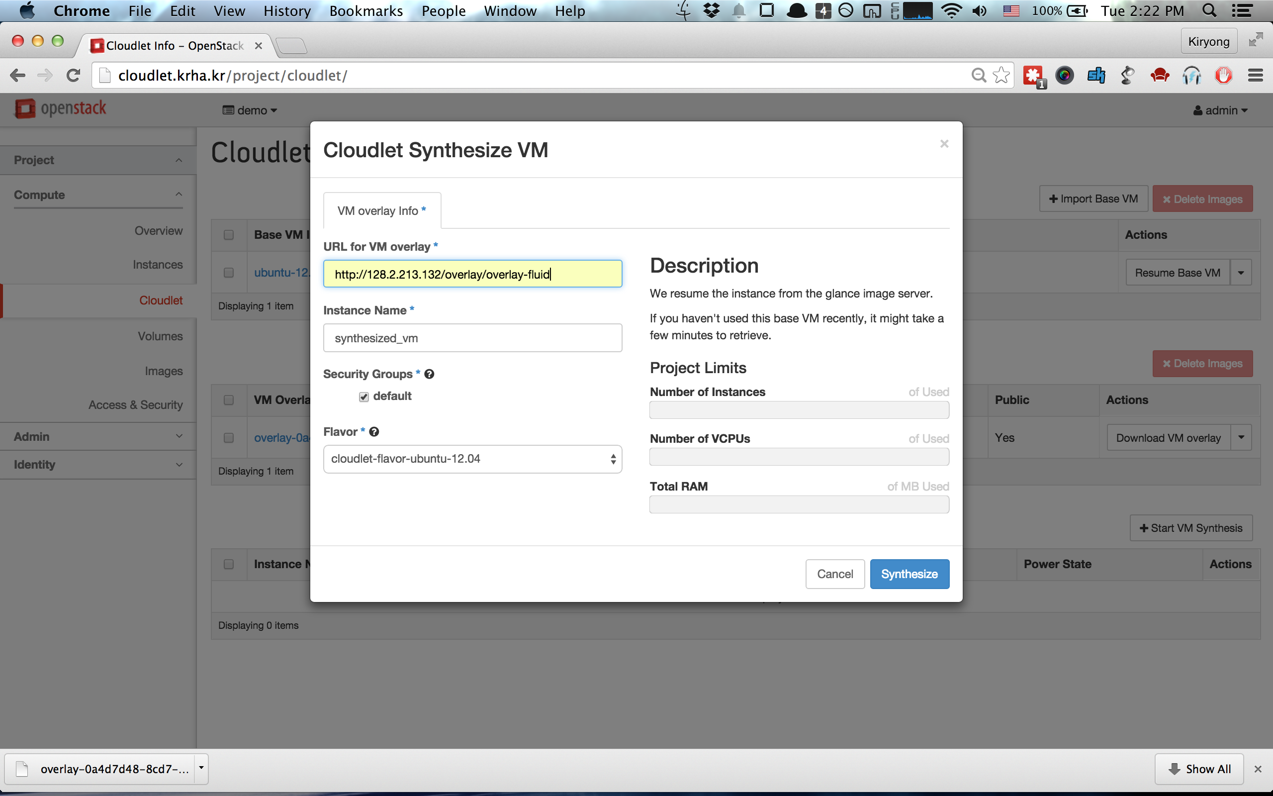 Start VM Synthesis