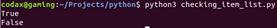 checking item in list python