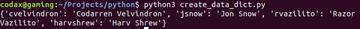 create dictionary python