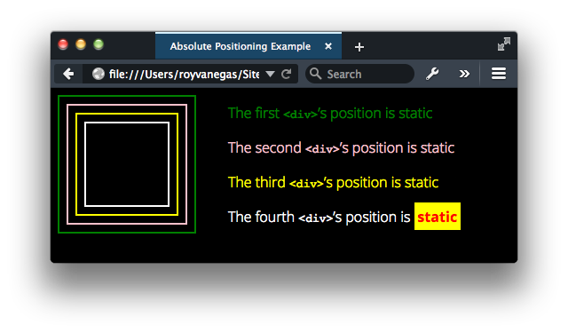 [Example of absolute positioning in browser]