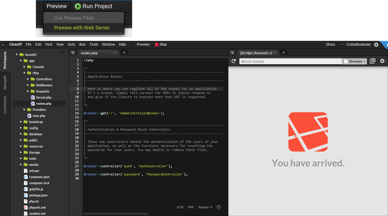 Cloud9 IDE with Composer + Laravel