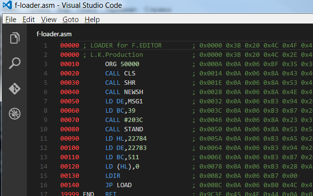 Code colorization sample