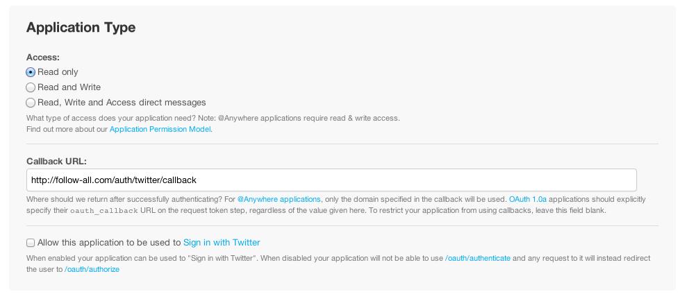 Twitter app callback URL