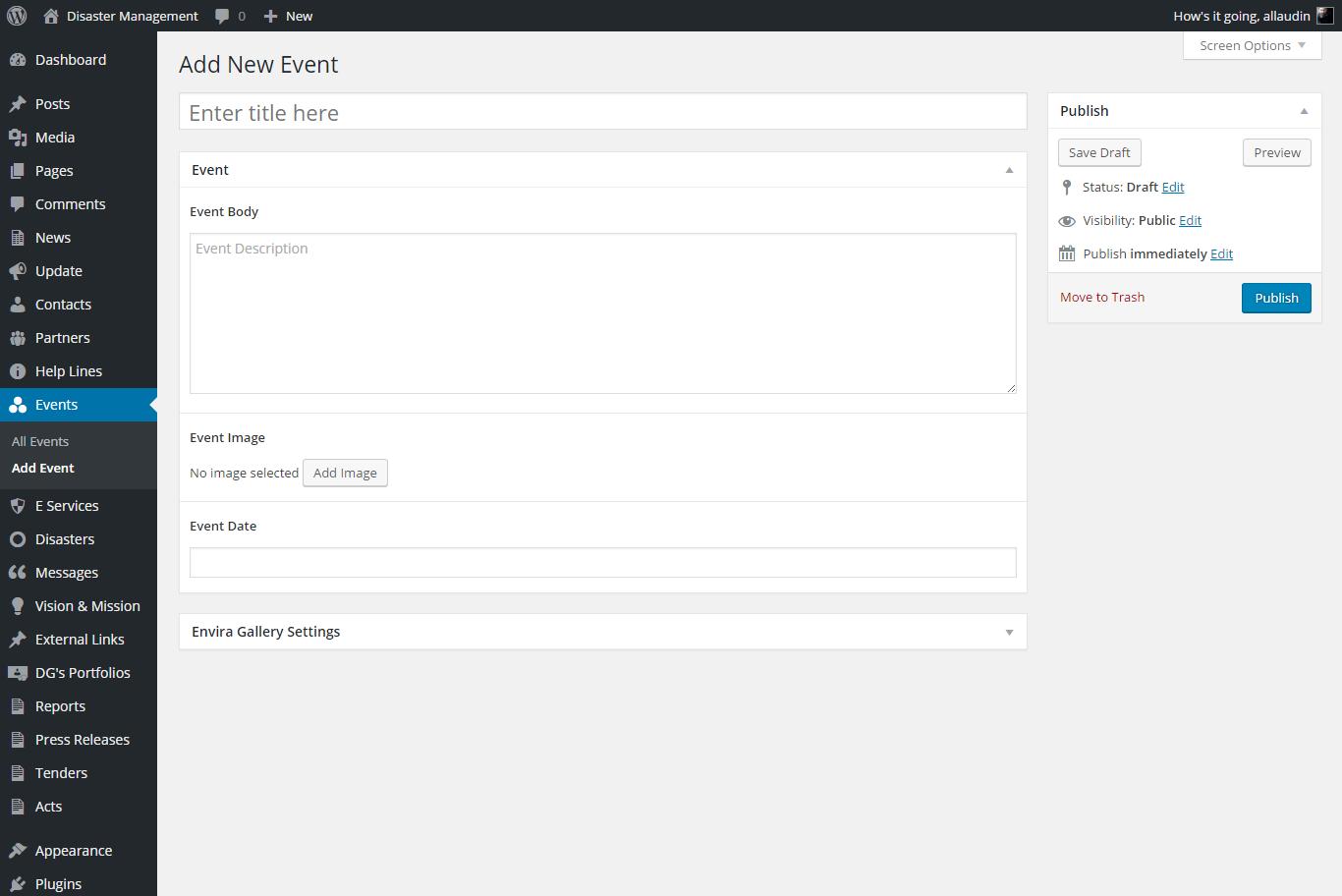 Screenshot of Admin Panel