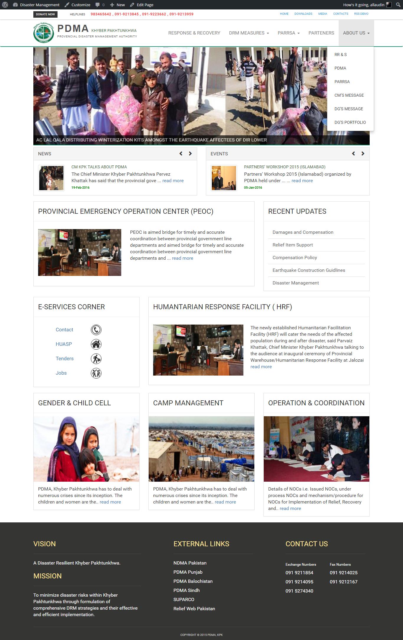 Screenshot of Website's Front End