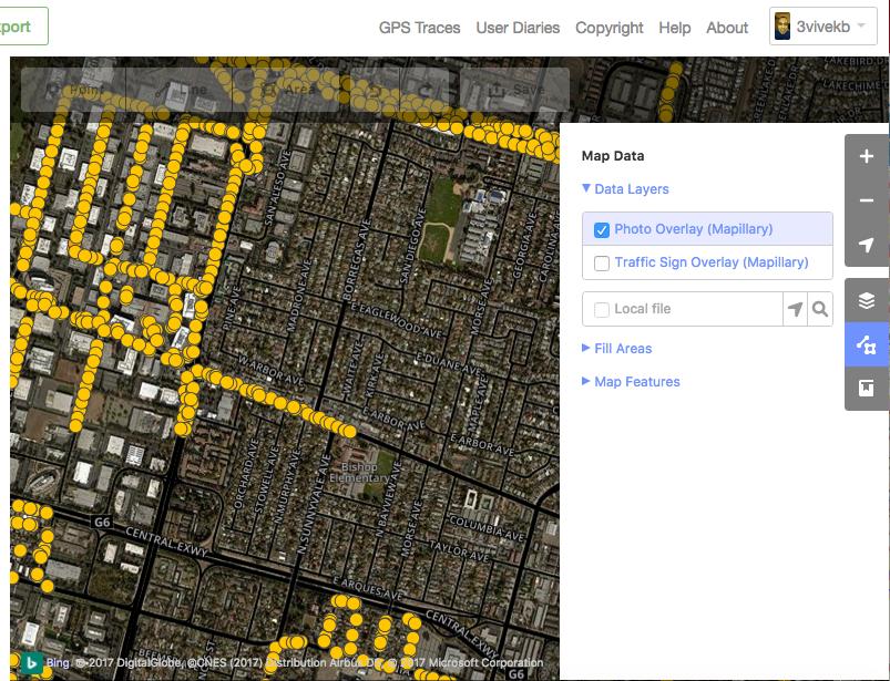 Turn on the Mapillary photo overlay