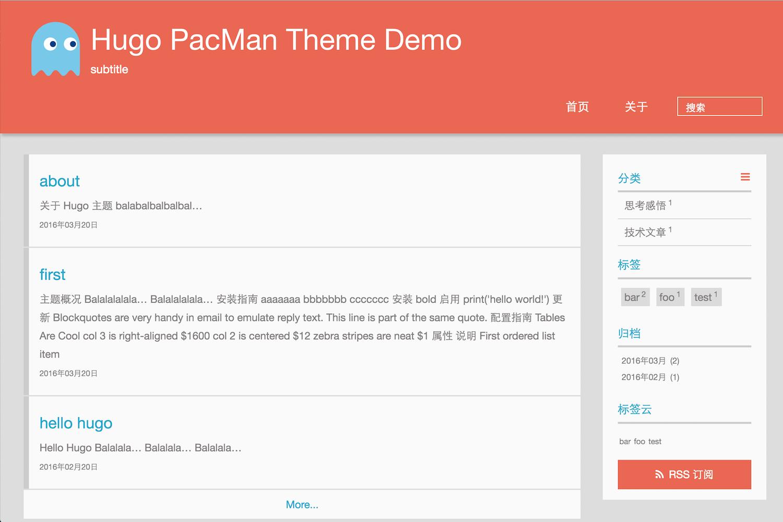 Hugo Pacman Theme | Hugo Themes