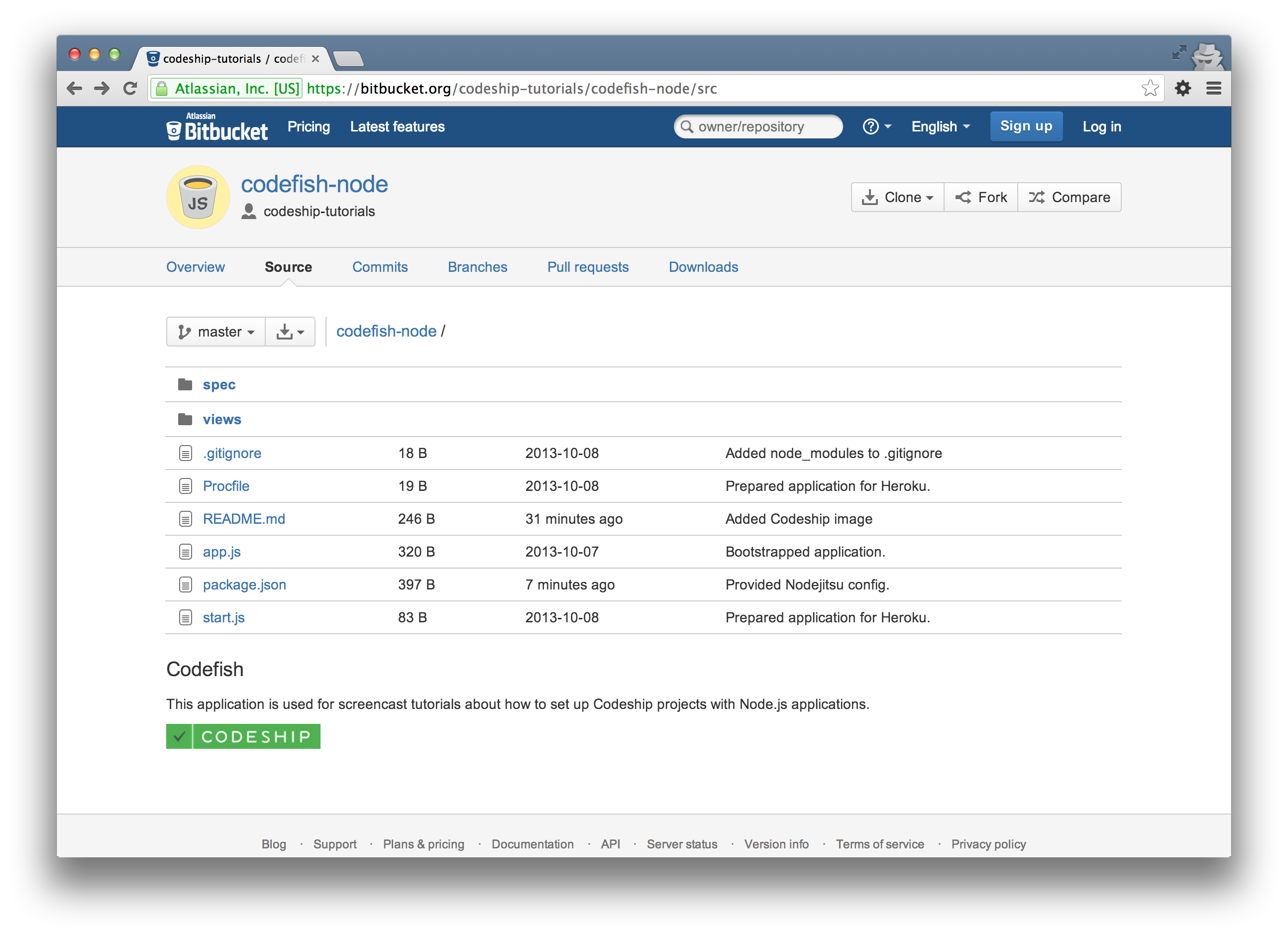codefish-node on Bitbucket