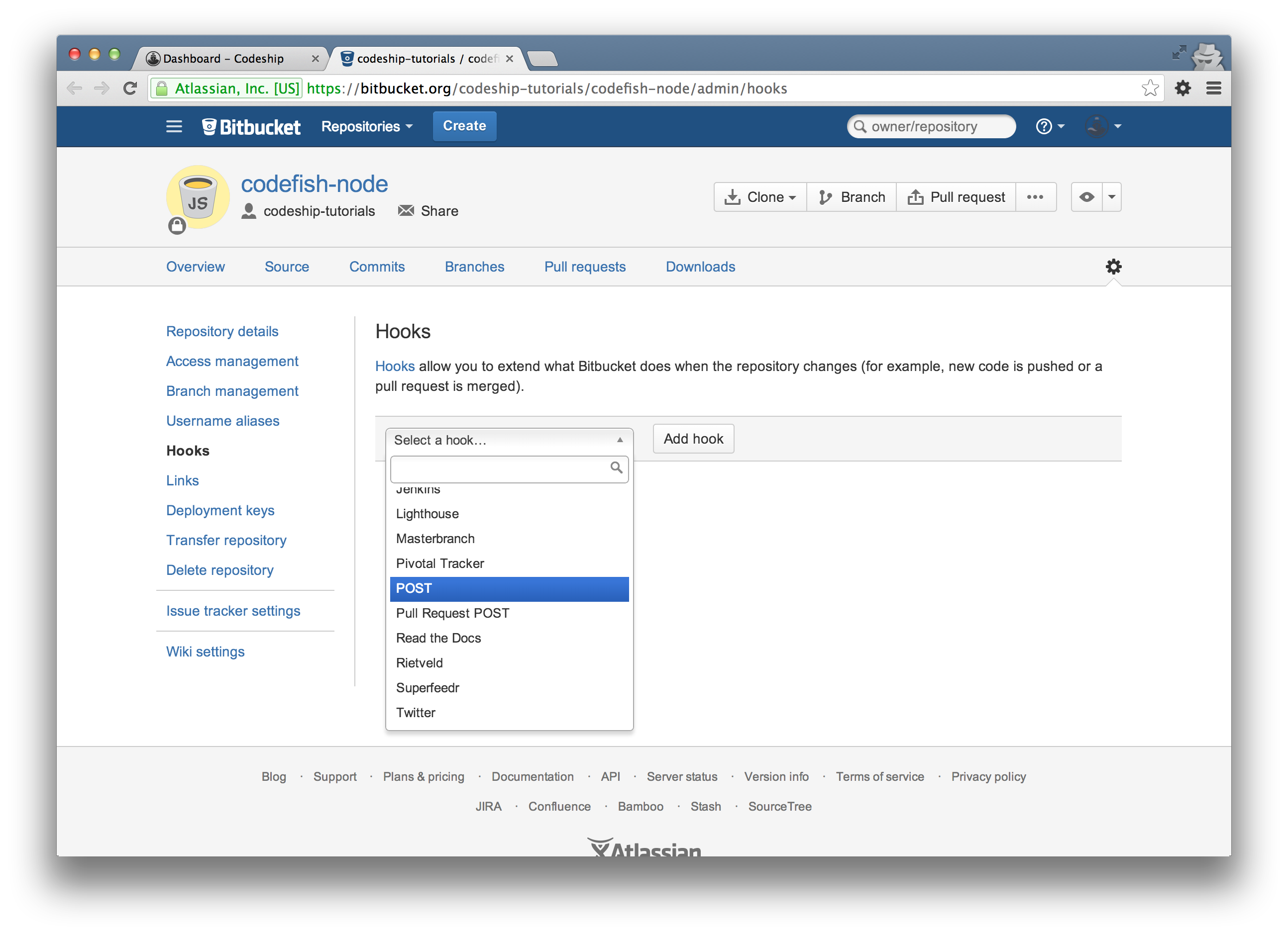 Bitbucket select POST hook