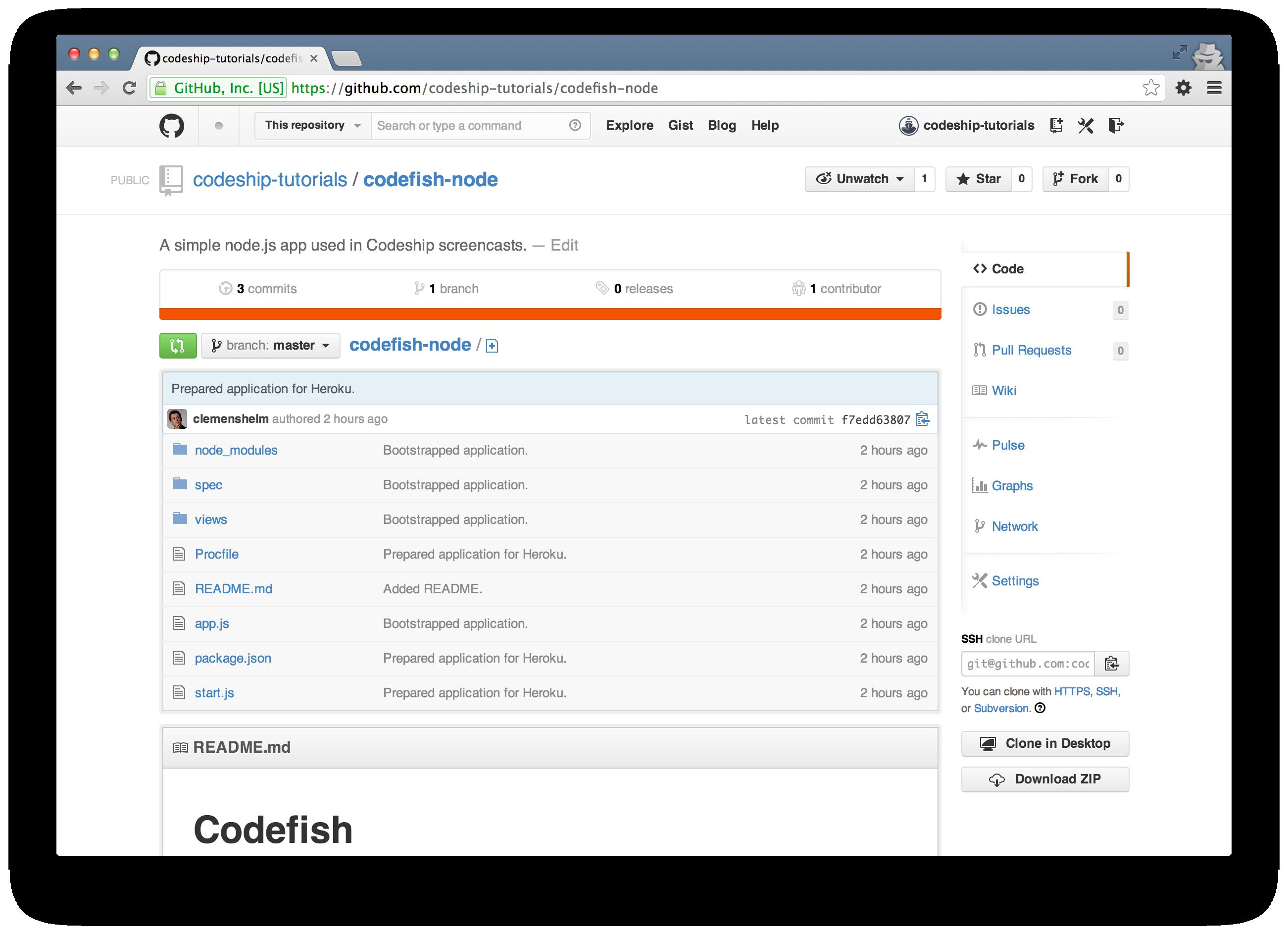 codefish-node on GitHub