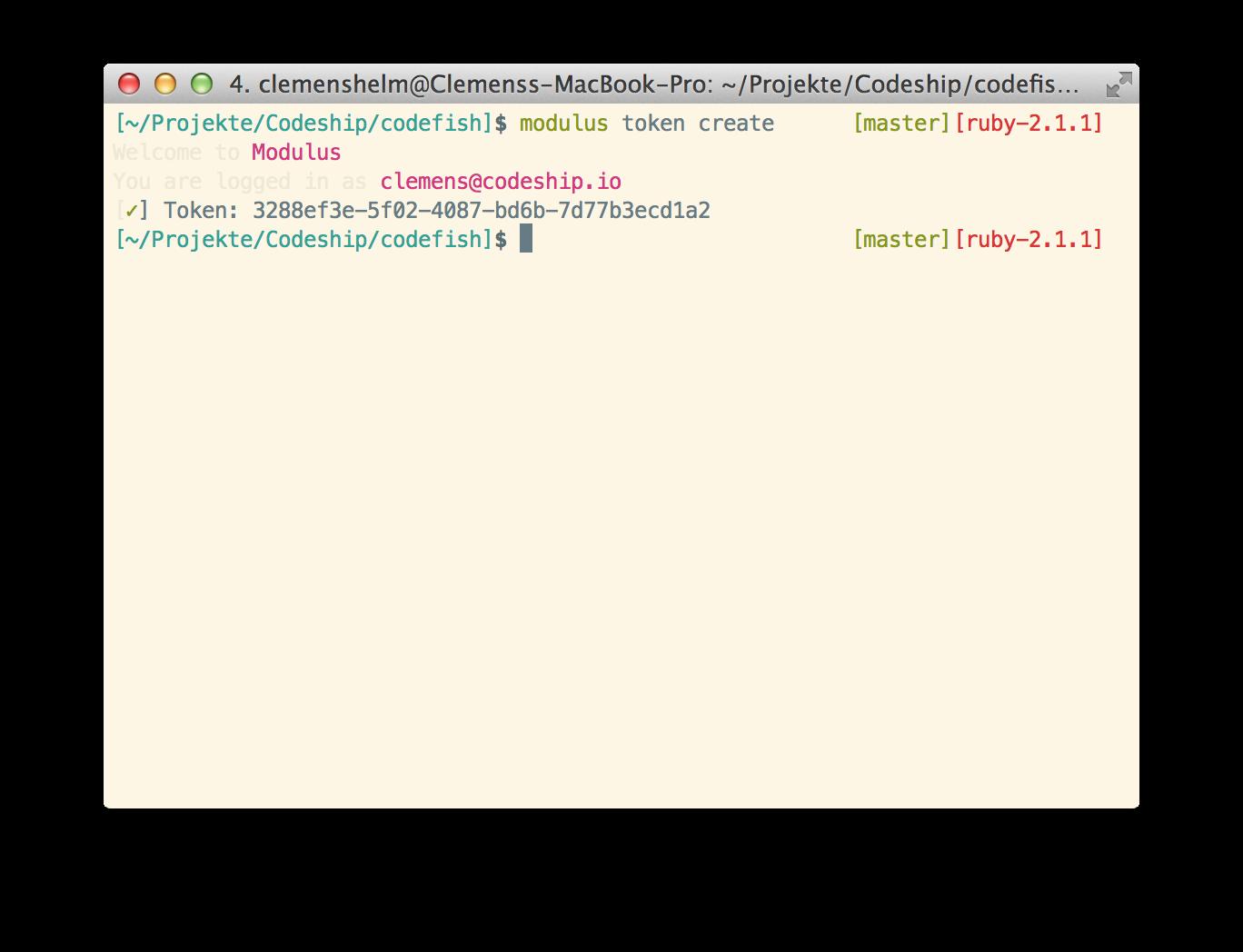 Create modulus API token