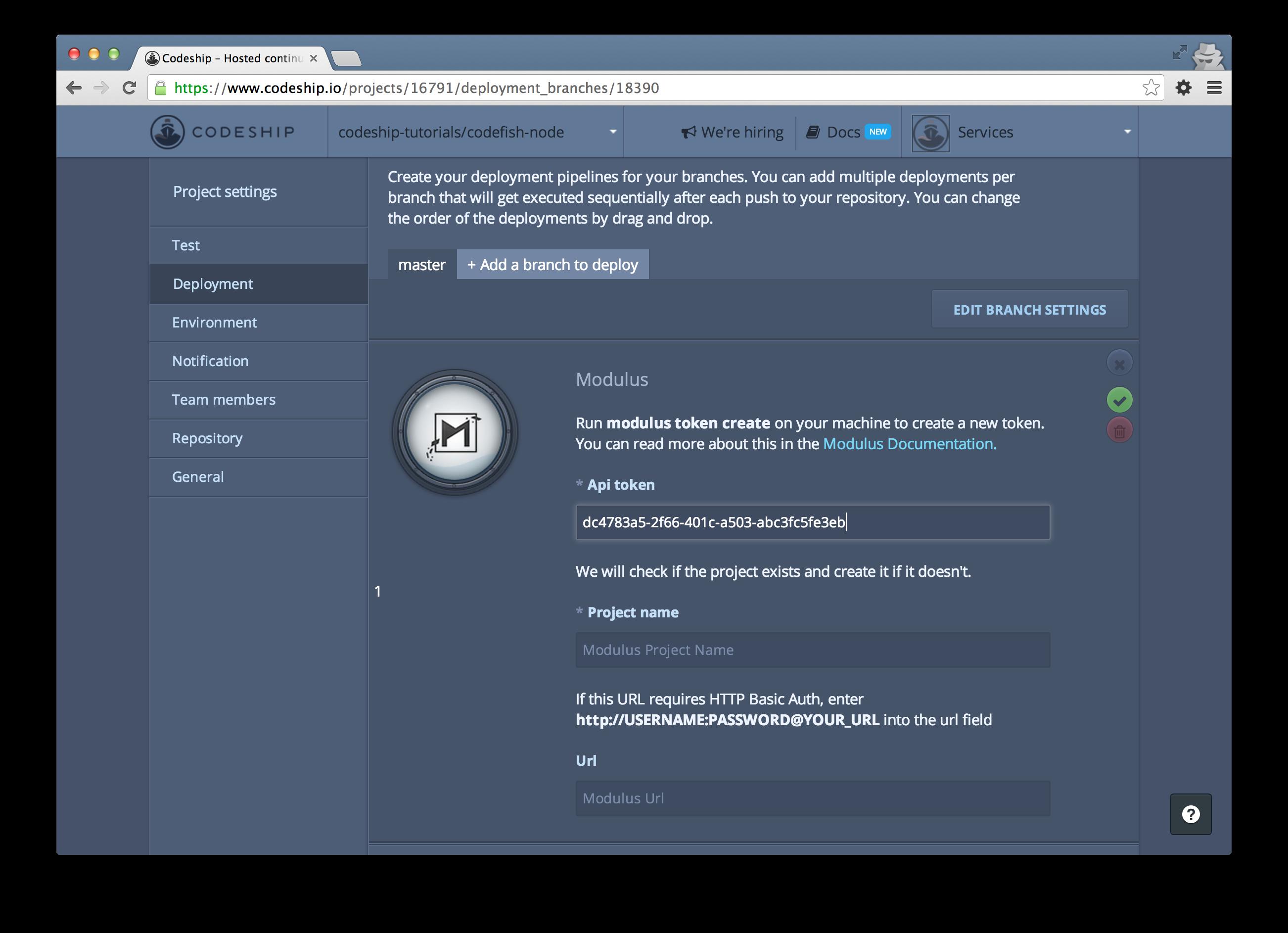 Insert modulus API token