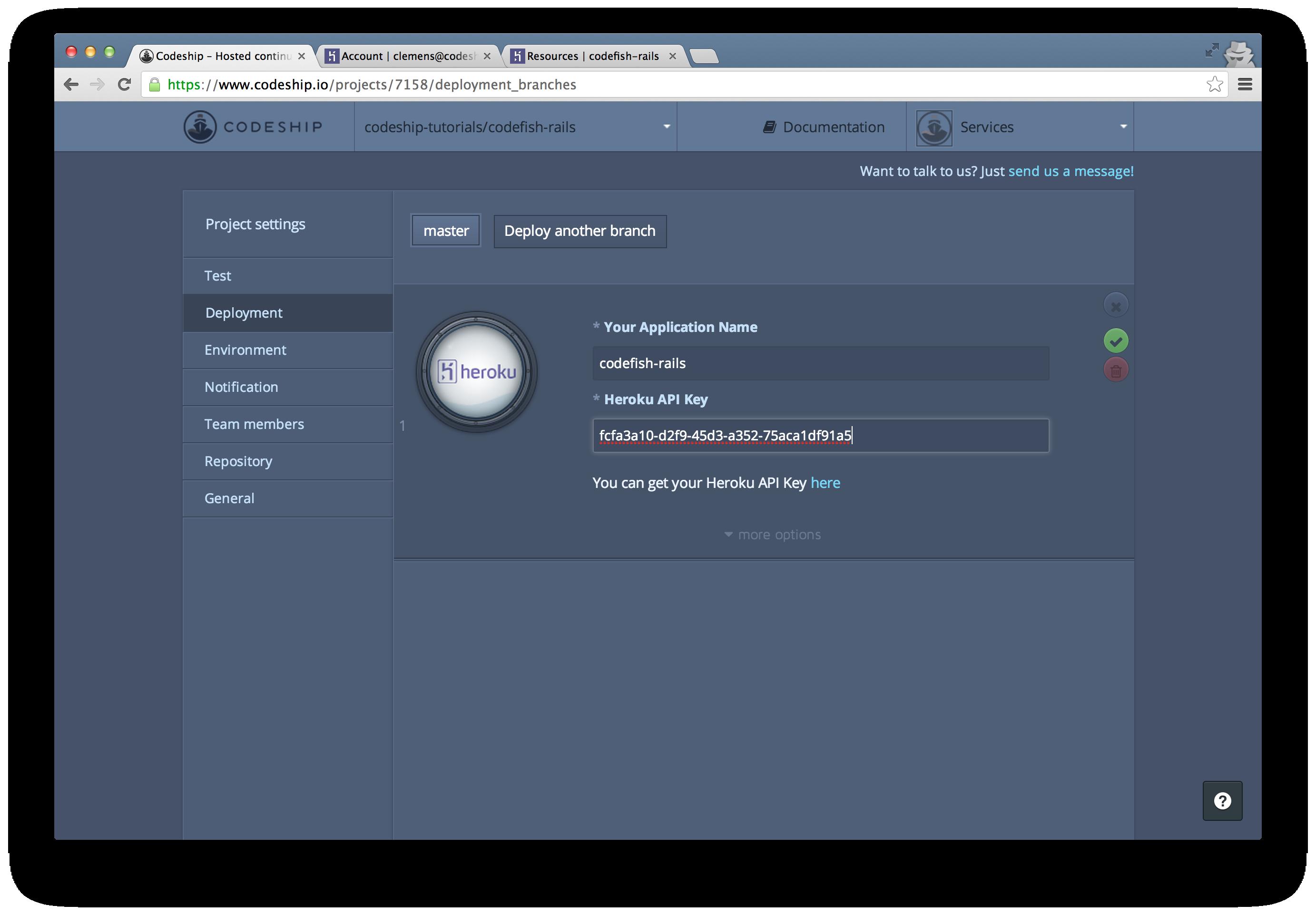 Copy and paste the Heroku API key to the Codeship