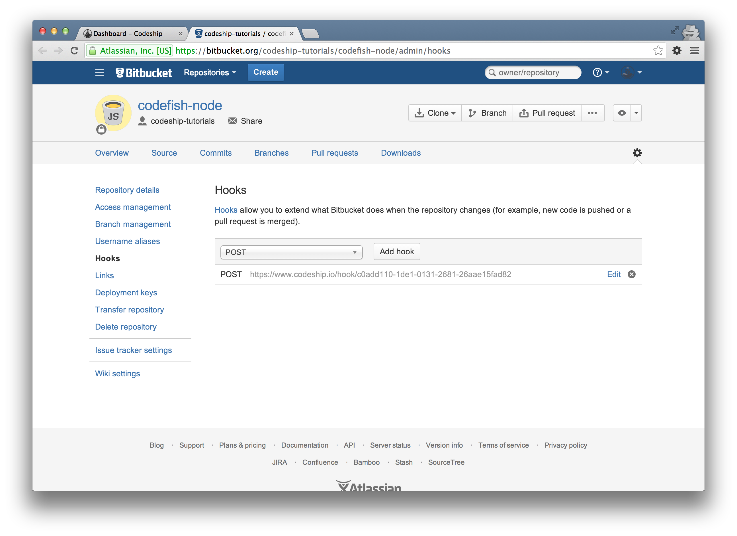 Bitbucket hook URL